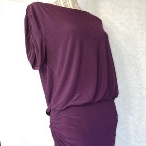RL Purple Ruched Coctail Body On Dress Size 8